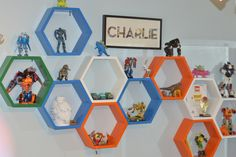 Boys room, DIY honeycomb shelf - my boys have so many keepsakes this would be a great way to show them off.