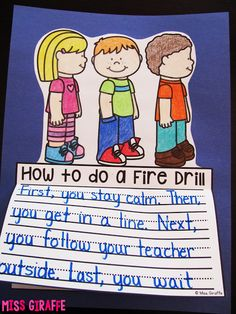 Uh this needs to be a writing activity for my kids EVERY YEAR! How to do a fire drill and other great fire safety week writing prompts and crafts for kindergarten or first grade Kindergarten Writing Activities, Teaching Writing, Informative Writing Kindergarten, Teaching Ideas, Literacy, Primary Teaching, Kindergarten Classroom, Learning Resources, Procedural Writing