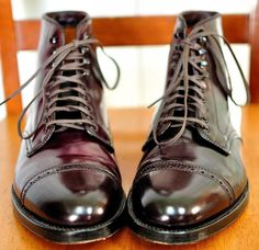 Alden for J.Crew shell cordovan cap toe boots.  #Aim2Win