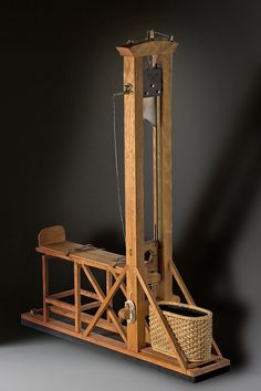 """Guillotine (fixture) aka. """"The National Razor"""". A portrait in mixed media by George Stuart."""