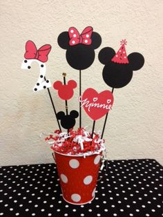 Minnie Mouse Birthday Decoration Centerpieces Baby shower - Rock Baby Names - Ideas of Rock Baby Names - Minnie Mouse Birthday Decoration Centerpieces by TheGirlNXTdoor Minnie Mouse Party, Minnie Mouse Birthday Decorations, Minnie Mouse Baby Shower, Mickey Party, Mickey Mouse Birthday, Mouse Parties, 2nd Birthday, Disney Parties, Baby Shower Centerpieces