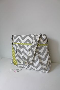 Stella Chevron Diaper Bag  READY to SHIP Large  NEW by marandalee lime green dot and grey chevron diaper bag nappy bag baby gear