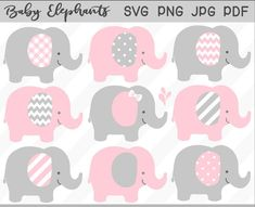 Baby elephant svg & clipart set pink elephant baby shower et Baby Elephant Images, Elephant Baby Showers, Elephant Nursery, Pink Elephant, Grey Baby Shower, Girl Shower, Pink And Gray Nursery, Baby Shower Supplies, Girl Baby Shower Decorations