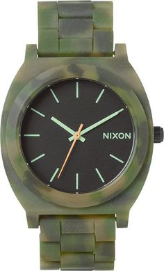 Nixon The Time Teller Acetate Watch in camo green http://www.swell.com/NIXON-THE-TIME-TELLER-ACETATE-WATCH-7 @SWELL