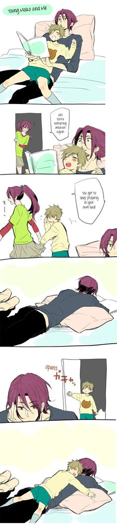 So cute and Rin doesn't mind it that Makoto just lays on top of him!! x3(I don't ship this it's just so cute)