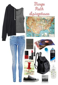 """""""Margo Roth Spiegelman- Paper Towns"""" by maven2275 ❤ liked on Polyvore featuring Boohoo, La Garçonne Moderne, Converse, NARS Cosmetics, Pieces, philosophy, Meggie, contestentry and papertowns"""