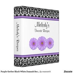 Purple Gerber Black White Damask Recipe Binder