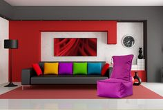 Home Design Modern Interior Red Living Room with Black Couch and Colorful Throw Pillows Best Interior Design, Home Interior, Interior Design Inspiration, Interior Decorating, Design Ideas, Interior Designing, Decorating Ideas, Design Trends, Design Styles