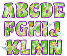 printable tinkerbell letters A-N (green)