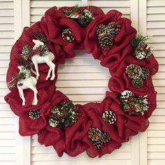 Sale! 20% off Christmas Wreath, Reindeer Wreath, Xmas Wreath, Large Burlap Christmas Wreath