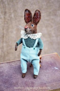 Needle Felted Little Rabbit - Needle Felted Ornament by Rustles from the Meadow
