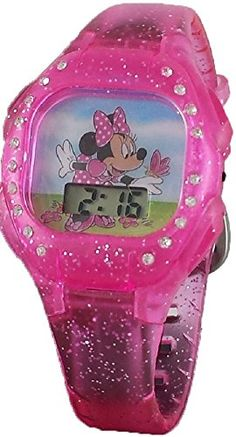 Animation Hello Kitty Magnifier Clock Wrist Hello Kitty Pink Gemstone With Diamonds Watches Children Electronic Watch Cosplay Soft And Light Costume Props Novelty & Special Use