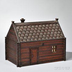 Folk Art Log Cabin-form Jewelry Box
