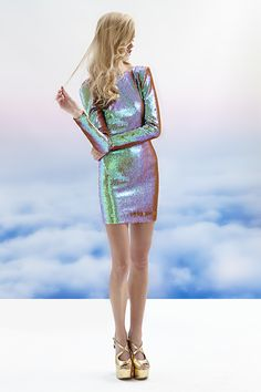 Dress The Population Lola Sequin Dress in Iridescent - Nasty Gal Fashion Week, Look Fashion, Fashion Beauty, Womens Fashion, Fashion Trends, Gq Fashion, Holographic Fashion, Iridescent Fashion, Paris Couture