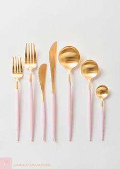 Sleek and luxurious brushed 24k gold & pink flatware.  Salad/Dessert Fork Dinner Fork Butter Knife Dinner Knife Dinner Spoon Tea Spoon Demitasse Spoon