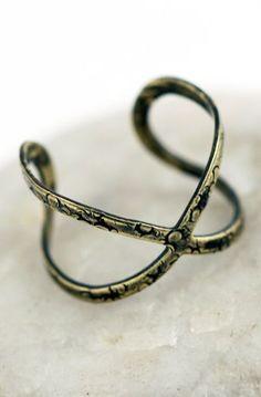 Open Infinity Symbolic Criss Cross Relic Ring