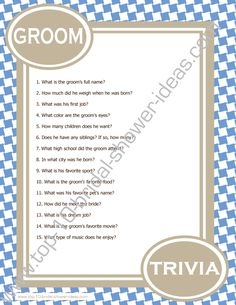 Groom Trivia - A printable bridal shower game you can print right from home! #bridalshowergames