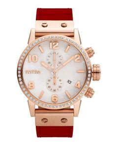 Brera Isabella 14k Rose IP Diamond Watch with Alligator Strap 46397b5dfcb95
