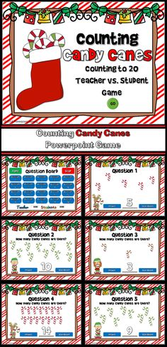 Practice counting to 20 with this Candy Cane themed counting games. Students must count the number of candy canes for each question. There are 20 questions and you just click on each question to go to it.