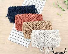 Vestido de ganchillo hippie ropa boho vestido gitano | Etsy Crochet Wallet, Hippie Crochet, Handmade Wallets, Art Bag, Macrame Bag, Types Of Bag, Cotton Rope, Vintage Gifts, Hippy
