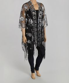 Another great find on #zulily! Black & Silver Sequin Fringe Open Cardigan - Plus #zulilyfinds