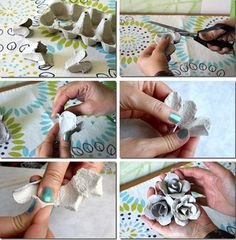 : DIY: Roses from Eggs Cardboards. Diy Projects To Try, Crafts To Make, Fun Crafts, Crafts For Kids, Paper Crafts, Handmade Flowers, Diy Flowers, Fabric Flowers, Paper Flowers