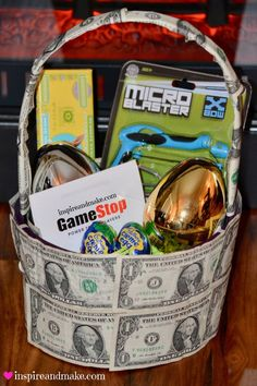 Are you looking for inventive way to create a money gift basket? This fun, creative, and unique money gift basket is sure to stop anyone in their tracks. This unique money gift basket is a fun gift for any celebration. www.getyourholidayon.com please follow me at www.pinterest.com/getyourholiday on for more great ideas! :)