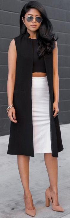 Black Long Vest, Black Crop Top, White Midi Skirt, Nude Pumps   Black And White With Nude Valentine's Day Outfit Idea  Walk In Wonderland #black
