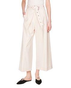 PROENZA SCHOULER Pleat-Front Cotton Culottes, Ecru. #proenzaschouler #cloth #