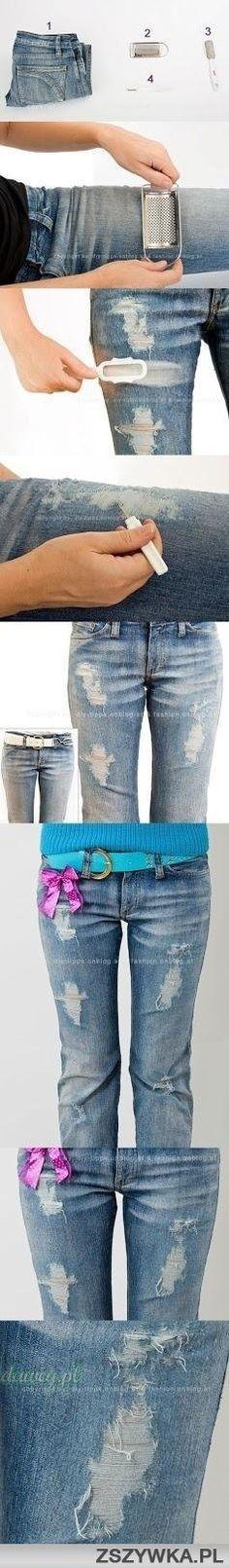 DIY distressed jeans!!!