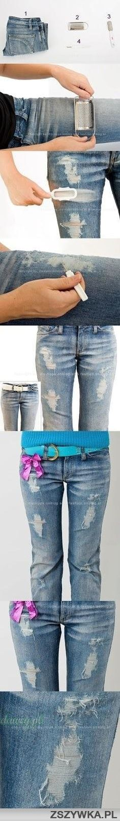 DIY distressed jeans!!!