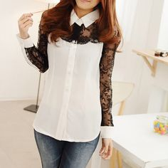 Stitching lace shirt long-sleeved shirt OL Slim123 A