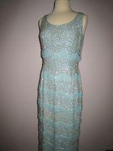 So Glamorous!! Vtg 1960s Aqua Sequins Beaded Column Gown