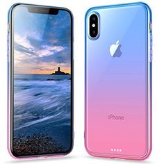 iPhone X Case Protective Cover Slim Case Shock Absorbing Rubber Blue Pink #Ansiwee