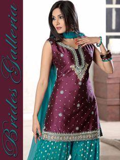 Wine & Turquoise Silk Patiala Salwar kameez - loving the color combo of this Punjabi suit #Punjabi #Indian #Indianonly