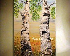 Impasto painting birch tree painting original by ZarasShop on Etsy