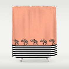 ELEPHANTS & STRIPES Shower Curtain by Monika Strigel | Society6 $68.00 #coral #stripes #black #white #elephant #aztec #illustration #cute #bathroom #shower #showercurtain #new #fresh #summery
