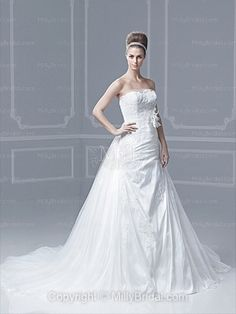A-line Strapless Tulle Satin Sweep Train White Lace Wedding Dresses