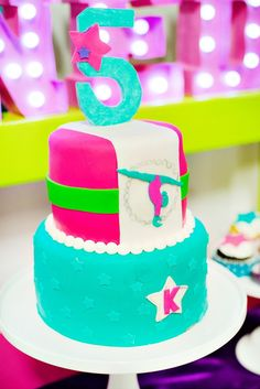 Bright & Coloful Gymnastics Birthday Party // Hostess with the Mostess® 5th Birthday Party Ideas, 11th Birthday, Birthday Celebration, Girl Birthday, Gymnastics Birthday Cakes, Gymnastics Party, Cupcakes, Cupcake Cakes, Will Turner