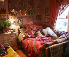 A cozy place to hide from the world today. Hippie Bedroom Decoration Ideas