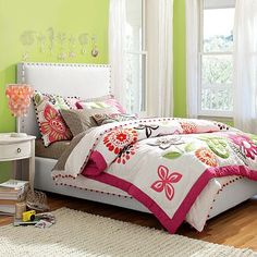 I love the Raleigh Upholstered Bed + Headboard on pbteen.com