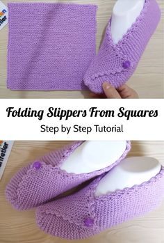 Folding slippers from the squares - * Designers& share: free crochet pattern . Folding slippers from the squares - * Designers& share: free crochet patterns * Loom Knitting, Knitting Socks, Free Knitting, Knitting Patterns, Crochet Patterns, Knitting Ideas, Knitting Tutorials, Art Patterns, Knitting Machine
