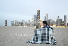 Chicago Skyline at Night! Engagement & Wedding Photos by Erica Rose www.erosephoto.com