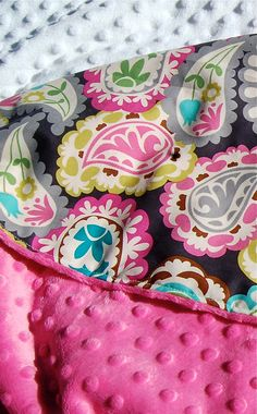 Baby Girl Blanket Paisley Beat with Pink or Teal by ThePoshTots