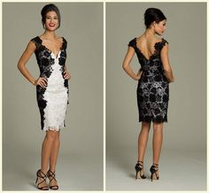 Wholesale Cocktail Dresses - Buy NEW Designer Sexy 2015 Style V Neck White Black Lace Sheath Knee Length Cocktail Dresses Appliques Short Prom Special Occasion Dresses, $124.83 | DHgate.com