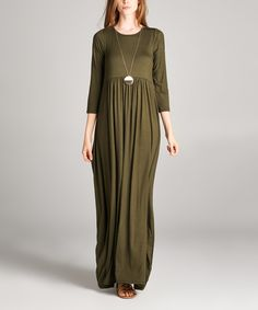 Another great find on #zulily! Jardins Apparel Olive Empire-Waist Maxi Dress by Jardins Apparel #zulilyfinds