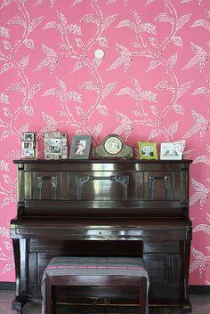 bright pink wall...piano