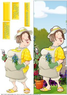 Gardening Lady Large DL on Craftsuprint designed by Gordon Fraser - This lady definately has the ol'green fingers! Easy to make large, DL card front with decoupage and sentiment tiles! More versions of this design are available! - Now available for download!