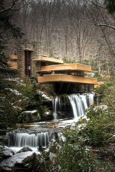 "Frank Lloyd Wright, ""Falling Water"", Kaufman Residence. 1936-39, Bear Run Creek in Mill Run, PA."