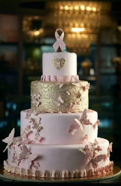 breast cancer awareness cake in pink and gold